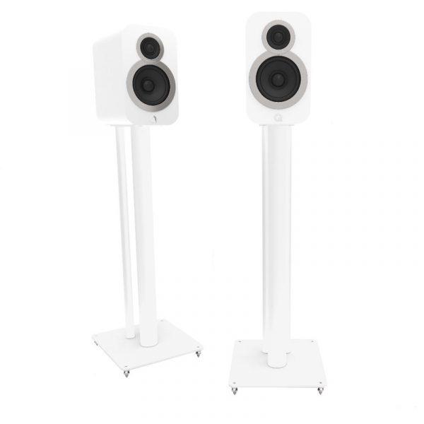 QA3104 Speaker Stand In Textured Satin White With Speaker On White Background