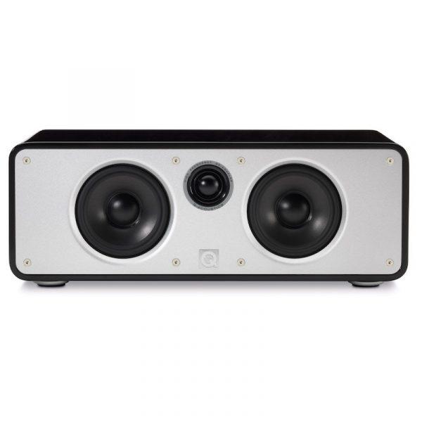 Q Acoustics Concept 20 Centre Speaker In Gloss Black On White Background