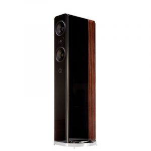 Q Acoustics Concept 500 Stereo Floorstanding Speakers In Gloss Black And Rosewood On White Background