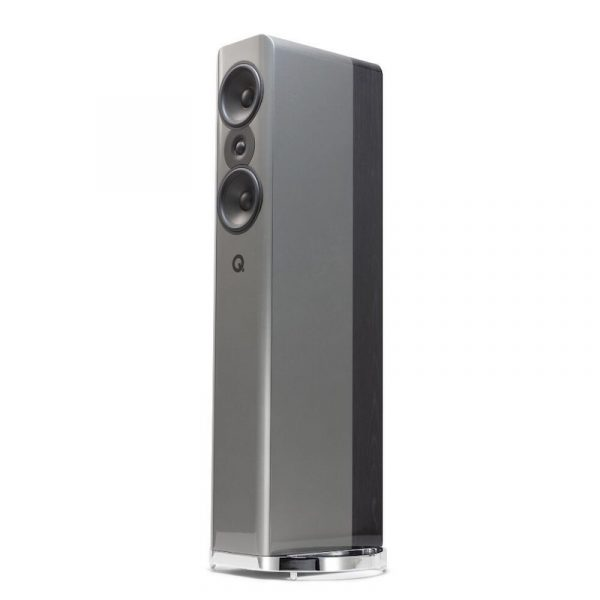Q Acoustics Concept 500 Stereo Floorstanding Speakers In Gloss Silver And Ebony On White Background