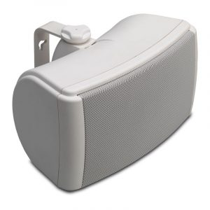 Q Acoustics QI65EW All Weather Speaker In White With Mount On White Background